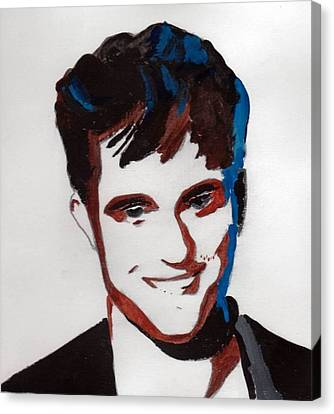 Canvas Print featuring the painting Robert Pattinson 7 by Audrey Pollitt