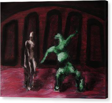 Canvas Print featuring the painting Robot Chewbacca Fight Colosseum In Red Green And Pink by M Zimmerman