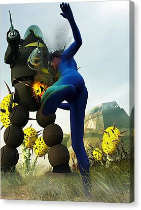 Robot Fighter V2 Canvas Print by Michael Knight