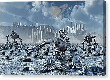 Robots Gathering Rich Mineral Deposits Canvas Print