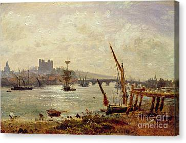 Rochester Cathedral And Castle Canvas Print by Frederick Nash
