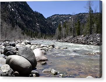 Canvas Print featuring the photograph Rock In The River by Lorraine Devon Wilke