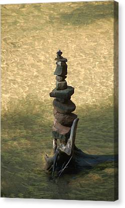 Canvas Print featuring the photograph Rock Tower Lake Superior by Peg Toliver