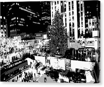 Rockefeller Tree Bw8 Canvas Print by Scott Kelley