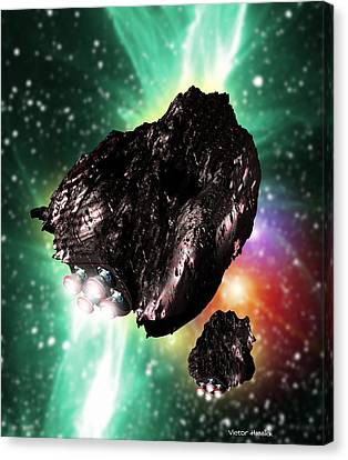 Rocket-controlled Asteroids Canvas Print by Victor Habbick Visions