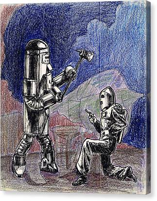 Rocket Man And Robot Canvas Print by Mel Thompson