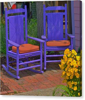 Canvas Print featuring the photograph Rocking Chairs Of Gloucester by Caroline Stella