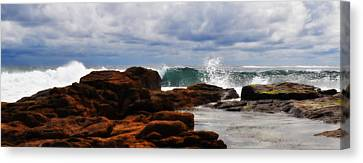 Rocks And Surf Canvas Print by Phill Petrovic
