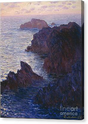 Rocks At Bell Ile Port Domois Canvas Print by Claude Monet