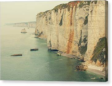 Rocks In Etretat, France Canvas Print by Photo by Ira Heuvelman-Dobrolyubova