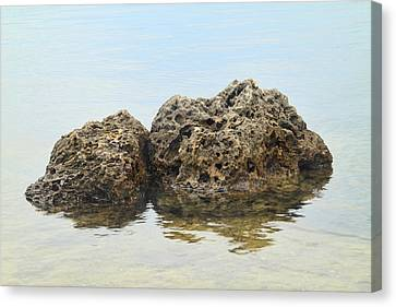 Rocks With Reflection Canvas Print by Rudy Umans