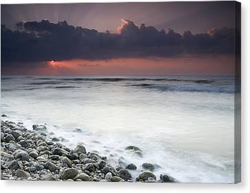 Rocky Beach At Sunrise Hawf Protected Canvas Print by Sebastian Kennerknecht