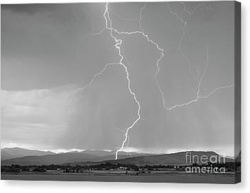 Rocky Mountain Front Range Foothills Lightning Strikes 1 Bw Canvas Print