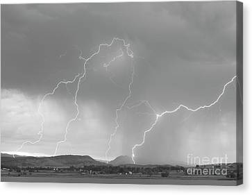 The Lightning Man Canvas Print - Rocky Mountain Front Range Foothills Lightning Strikes Bw by James BO  Insogna