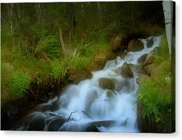 Rocky Mountain Waterfall Canvas Print by Ellen Heaverlo