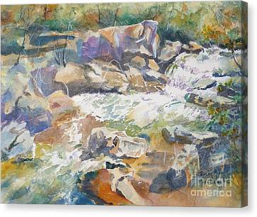 Canvas Print featuring the painting Rocky River by Mary Haley-Rocks