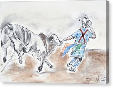 Canvas Print featuring the drawing Rodeo Bullfighter by Jim  Arnold