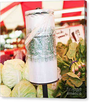 Roll Of Plastic Produce Bags In A Market Canvas Print