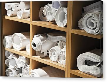 Rolls Of Blueprints In Cubbyholes Canvas Print by Jetta Productions, Inc
