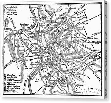 Roman Empire: Map Of Rome Canvas Print