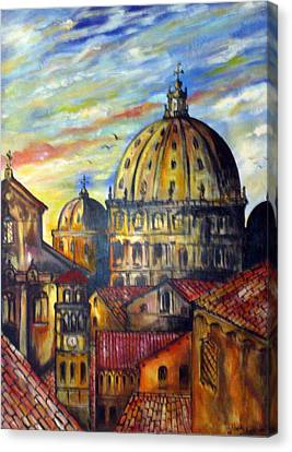 Canvas Print featuring the painting Roman Roofs by Roberto Gagliardi