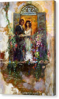 Romance In Venice  Fragment Balcony Canvas Print by Ylli Haruni
