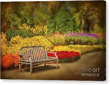 Romantic Flower Garden  Canvas Print by Cheryl Davis