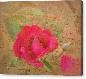 Romantic Rose Notes Canvas Print by Cindy Wright