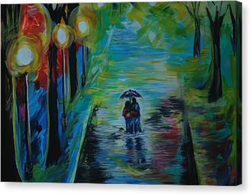Canvas Print featuring the painting Romantic Stroll Series II by Leslie Allen