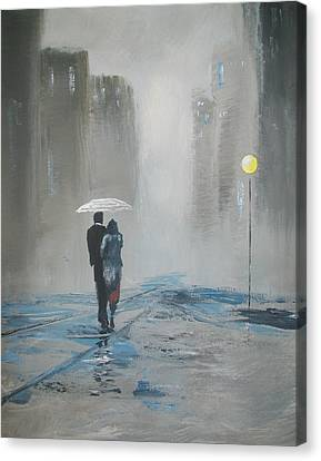 Romantic Walk In The Rain Canvas Print