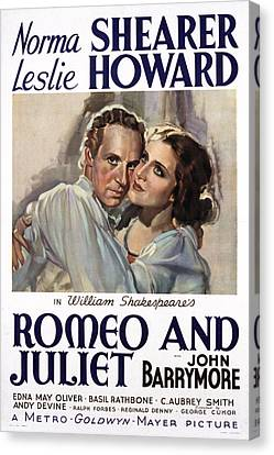 Romeo And Juliet, Leslie Howard, Norma Canvas Print by Everett