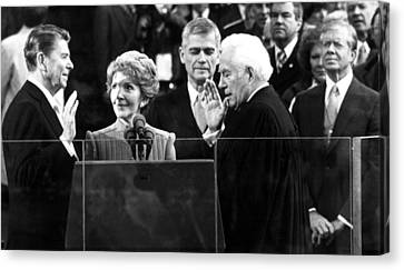 Ronald Reagan Sworn In As President Canvas Print by Everett