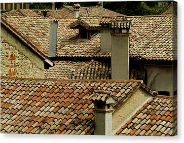 Rooftops Covered With Terra Cotta Roof Canvas Print by Todd Gipstein