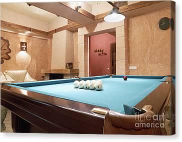 Room With A Billiard Table Canvas Print