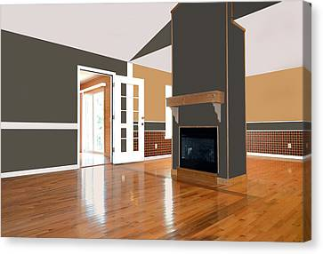 Room With Fireplace Canvas Print by Susan Leggett