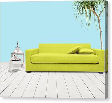Apartment Canvas Print - Room With Green Sofa by Atiketta Sangasaeng