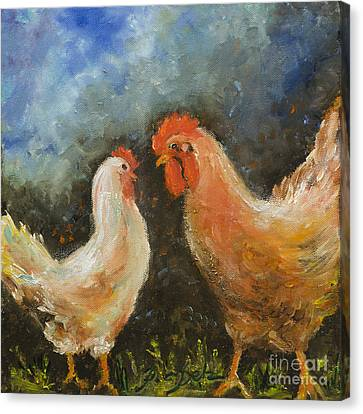Rooster Gets Last Word Canvas Print
