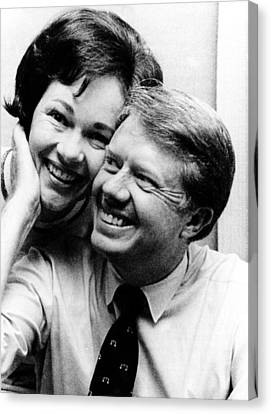 Rosalynn Carter And Jimmy Carter Watch Canvas Print by Everett