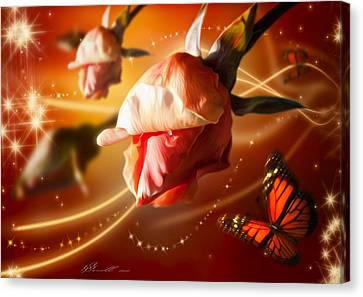 Rose And Butterfly Canvas Print by Svetlana Sewell