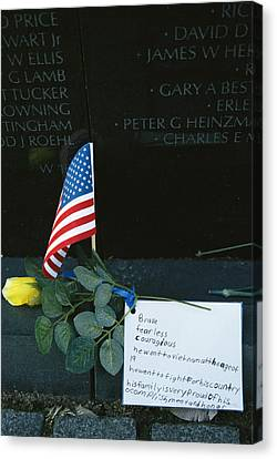 Rose, Flag, And Note Of Remembrance Canvas Print