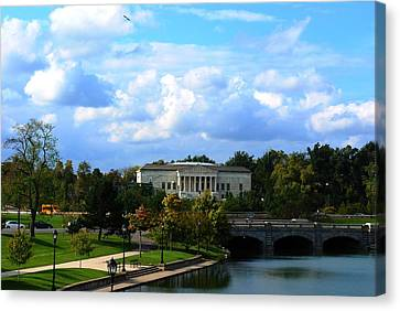 Canvas Print featuring the photograph Rose Garden And Hoyt Lake by Michael Frank Jr