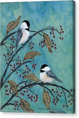 Rose Hip Chickadees Canvas Print by Kathleen McDermott