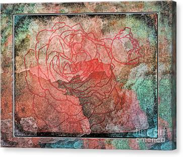 Rose Outline Abstract Canvas Print by Debbie Portwood