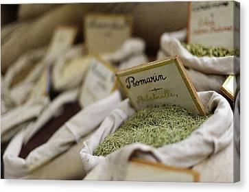 Rosemary And Provencal Herbs In Farmers Market Canvas Print by Alexandre Fundone