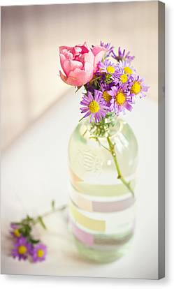 Roses And Aster In Glass Bottle Canvas Print by Helena Schaeder Söderberg