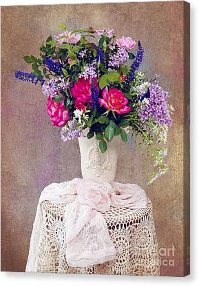 Canvas Print featuring the photograph Roses And Lilac  by Cheryl Davis