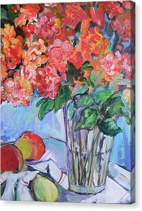 Roses And Peaches Canvas Print by Carol Mangano
