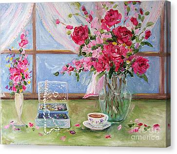Roses And Pearls Canvas Print