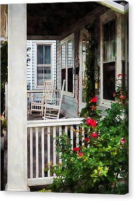 Roses And Rocking Chairs Canvas Print by Susan Savad