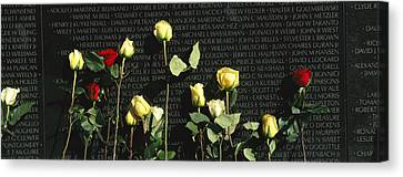 Roses Are Left At The Vietnam Veterans Canvas Print